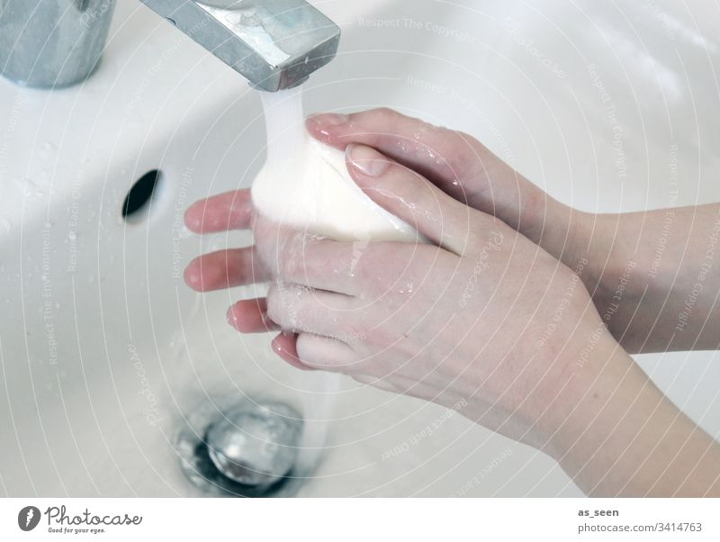 Washing hands Hand purge hygiene Clean Water Sink Wash hands Colour photo Wet Personal hygiene Healthy Bathroom Interior shot Close-up Soap White Tap