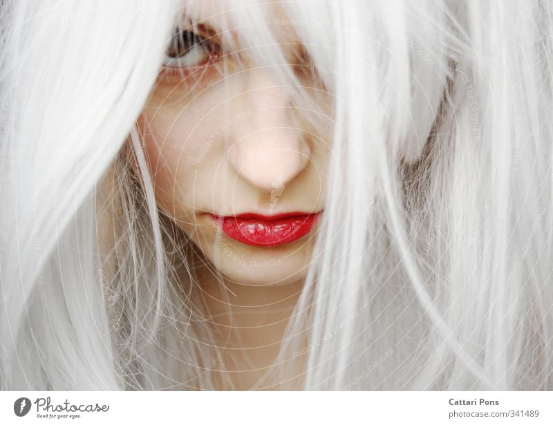 all of a sudden Hair and hairstyles Face Lipstick Feminine Young woman Youth (Young adults) Woman Adults 1 Human being White-haired Long-haired Observe Discover