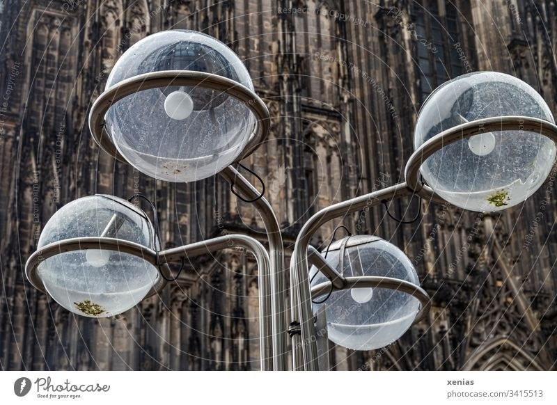 four round lamps with a blurred section of the Cologne Cathedral in the background Lamp Round from Public Electrical equipment Street lighting Bracket