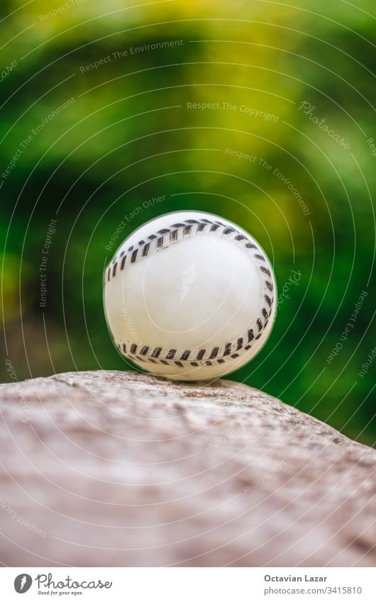 Baseball close up on rock, against green vegetation american athletics background baseball close-up closeup color competition detail equipment fun game grass