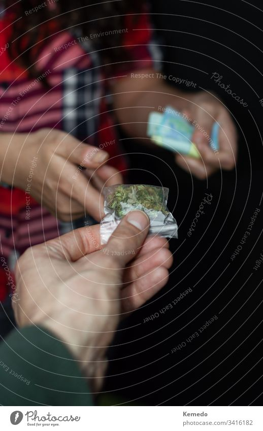 First person view of people buying and paying marijuana or drugs isolated on black background. Drug trafficking: sell and buy marijuana. cannabis dealer trader