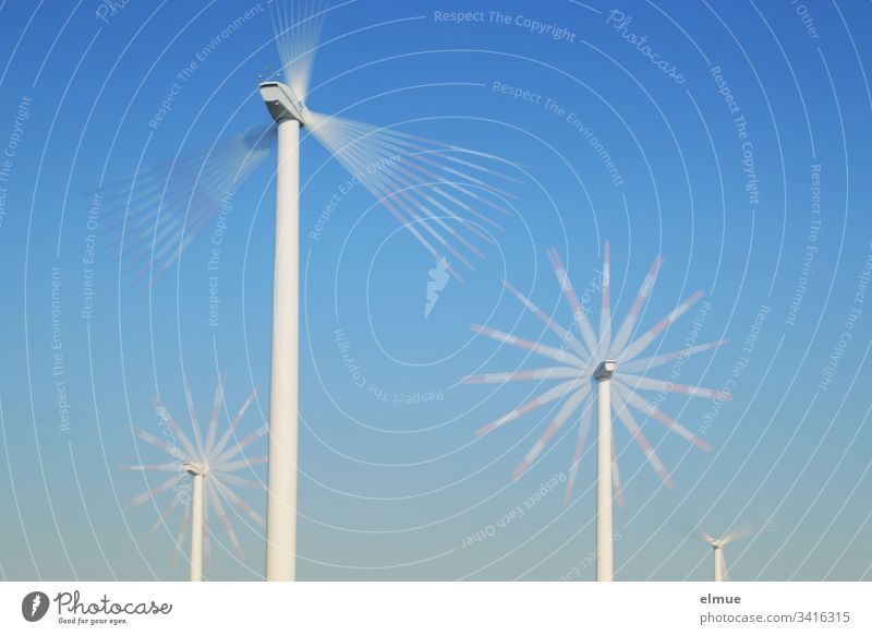 four differently distant wind turbines with multiple exposure Pinwheel Rotation Energy wind power Rotate Physics energy generation Blue Sky Rotor Grand piano