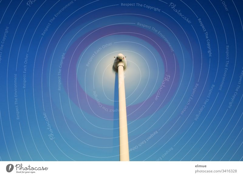 Wind turbine - long time exposure with blue sky Pinwheel Rotation Energy wind power Rotate Physics energy generation Blue Rotor Grand piano Wind energy plant