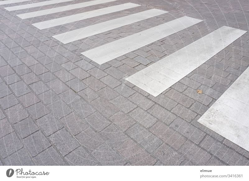 pedestrian crossing on a quiet road Zebra crossing traffic-calmed Safety Street sure Crosswalk Pedestrian crossing White Stripe Traverse roadside shape Geometry