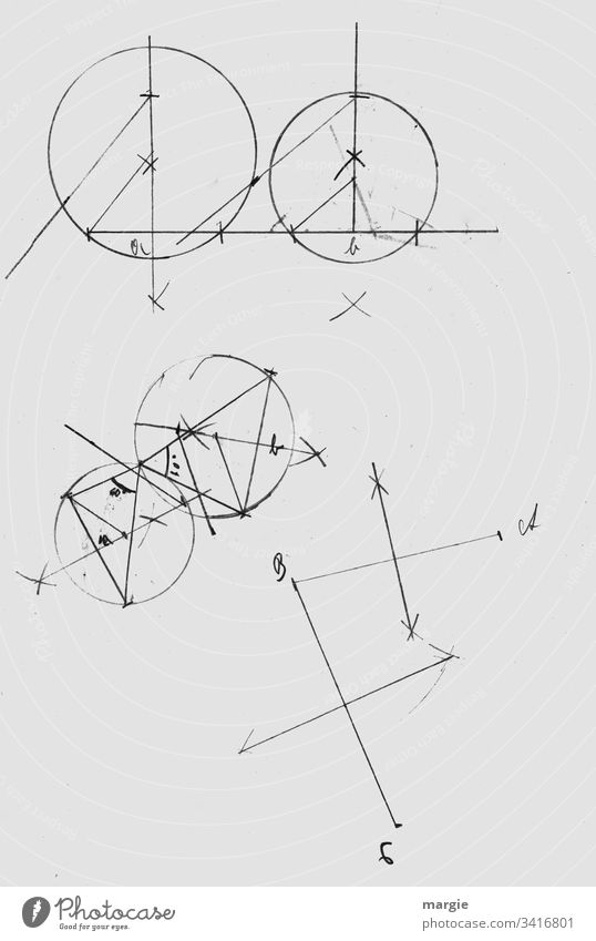 Geometry, circles, merging Formula Structures and shapes Drawing Academic studies School Abstract Detail Mathematics Study Line bring sb./sth. together