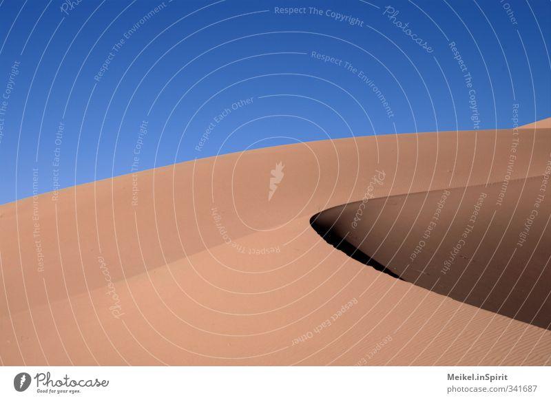 dune Landscape Earth Sand Summer Climate Beautiful weather Desert Dune Sahara Morocco Erg Chebbi Shadow Dark Hot Bright Warmth Blue Brown Yellow Gold Orange