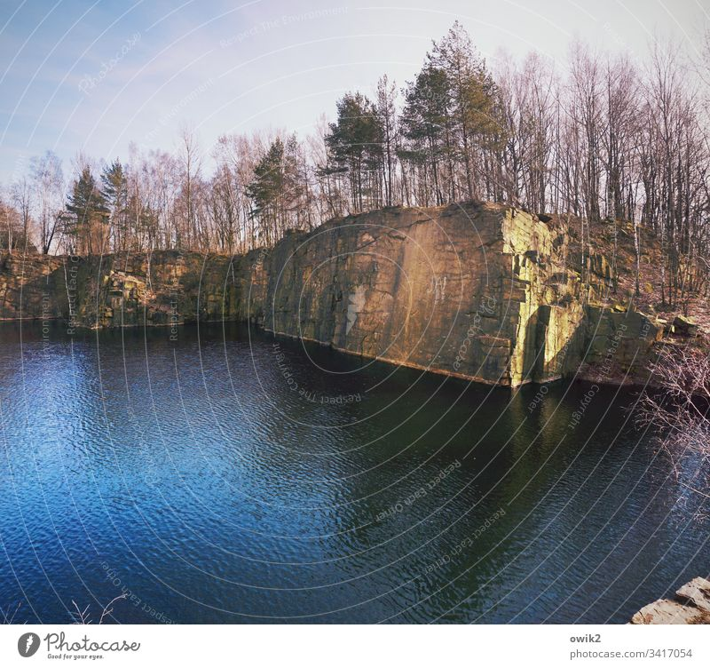 Lusatian granite Quarry Lake rock Granite Lausitz forest Eastern Germany trees tower Steep steep coast Water Panorama (View) Landscape Nature Exterior shot