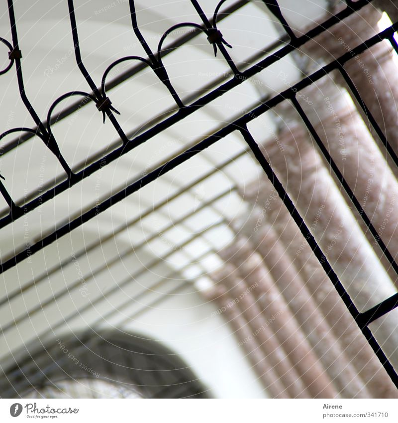 You didn't have to be so precise. Architecture Deserted Manmade structures Building Monastery Arcade Column Corridor Grating Gate lattice gate Ornament Line