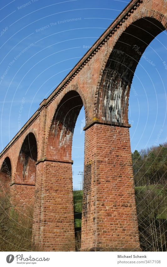 Himbächel viaduct is a single-track viaduct (arch bridge) of the Odenwaldbahn in Germany Track Arched bridge Architecture Bridge Landscape Manmade structures