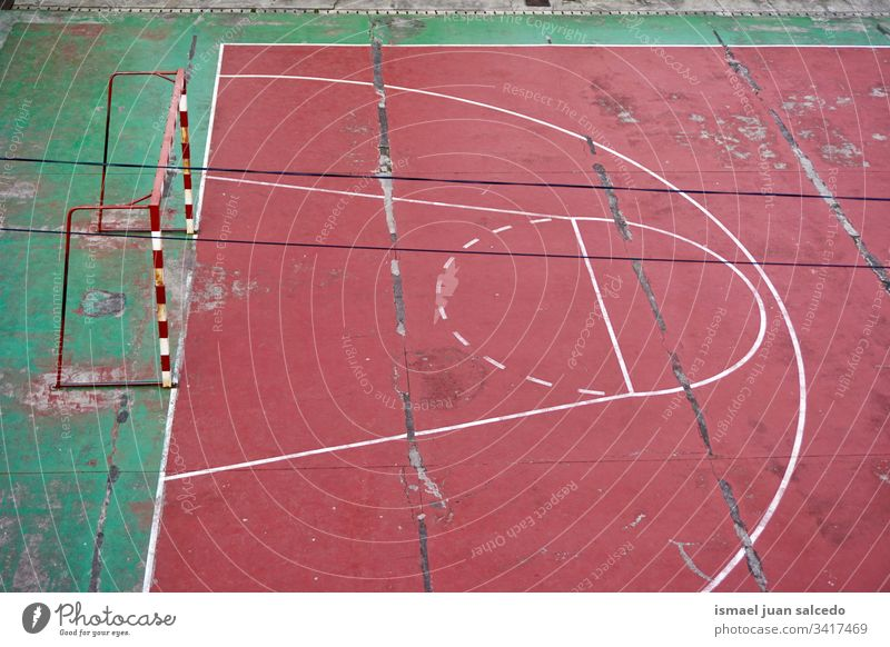 street soccer field abandoned court red goal net web rope sport sports equipment play playing old park playground outdoors broken background bilbao spain