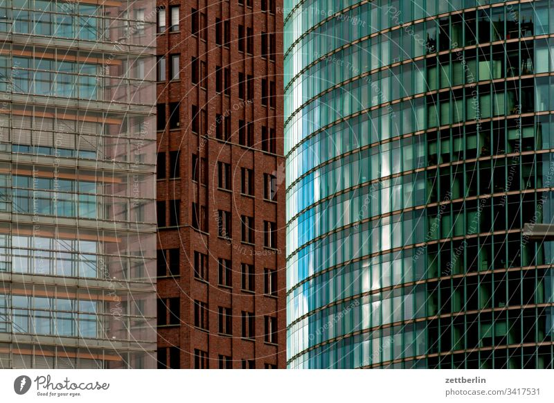 Facades at Potsdamer Platz Evening Architecture Berlin Office city Germany Twilight Worm's-eye view Capital city House (Residential Structure) Sky High-rise