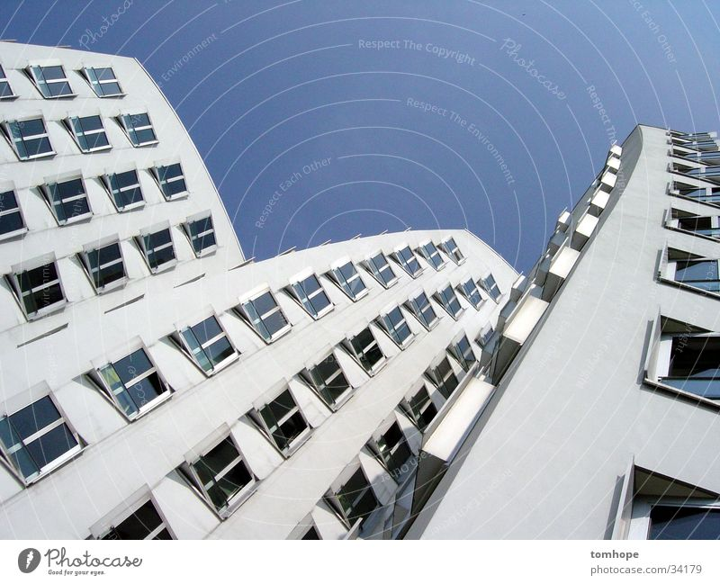 look up 01 House (Residential Structure) White Window Building Architecture Sky Duesseldorf Harbour Gehry buildings media harbour Blue