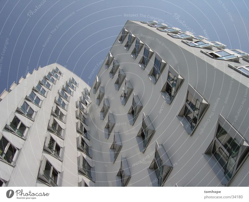 look up 02 House (Residential Structure) Building White Window Worm's-eye view Architecture Sky Blue Harbour media harbour Duesseldorf Gehry buildings Modern