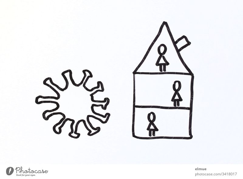 Drawing Coronavirus and house with persons (stylized) coronavirus covid-19 peril Infection Protection guard sb./sth. Quarantine Current Virus