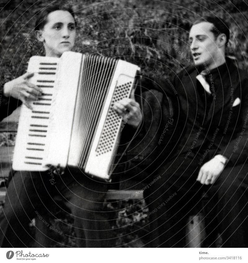 mood enhancer | accordion ensemble, left Accordion Sit Music entertainment two masculine Man stop Playing Sing B/W