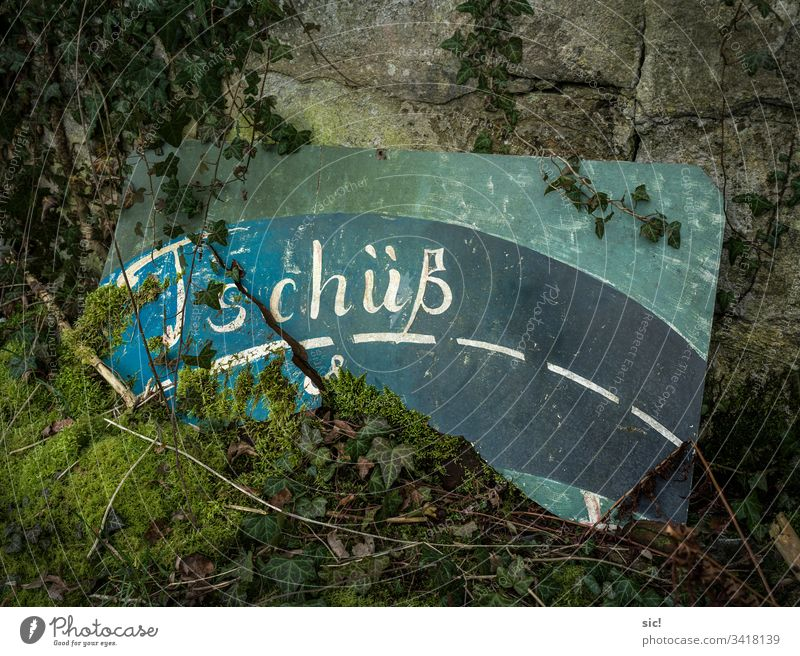Farewell sign at a factory ruin in Saxony-Anhalt Bye End Street Goodbye Farewell party Green Turquoise Moss Ivy Ruin Stone Exterior shot Deserted Subdued colour