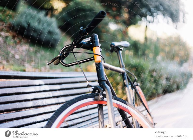 Bike leaning on a bench outdoors in a park retro object travel nature autumn style bike vintage transport concept decoration spring transportation no people