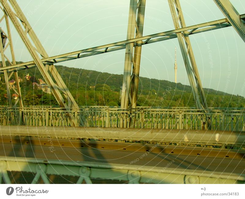 bridge Construction Steel Dresden Light and shadow Bridge Landmark Monument Shadow Tourist Attraction Steel construction Steel carrier Bridge construction