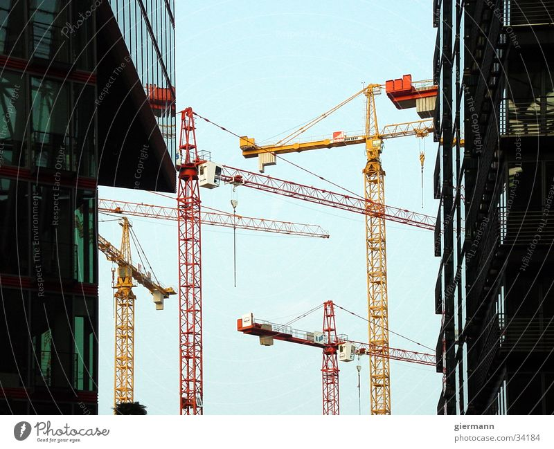 crane ballet Crane Red Yellow Facade Electrical equipment Technology Sky Modern Graffiti Architecture