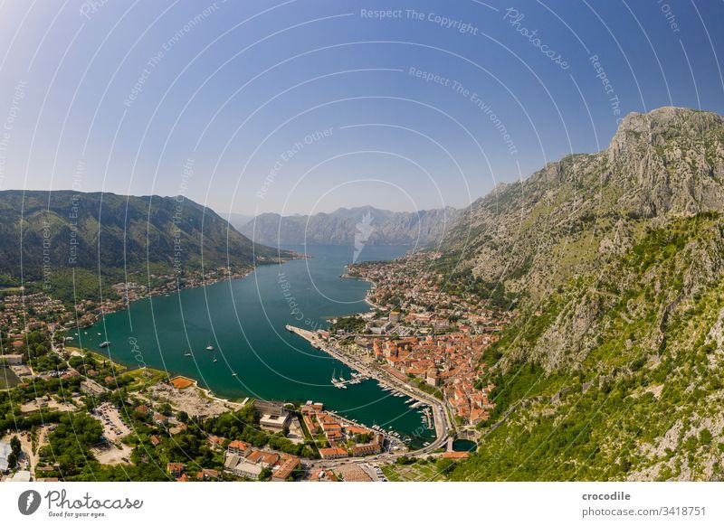Bay of Kotor with a view of the port and the historic old town motor Old town UAV view Harbour Cruise Montenegro Balkans Travel photography vacation Rock