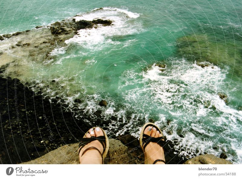 On the Abyss Ocean Cliff Surf Lagoon Vacation & Travel Beach Lava Fuerteventura Canaries Macabre Mountain Water Feet Rock
