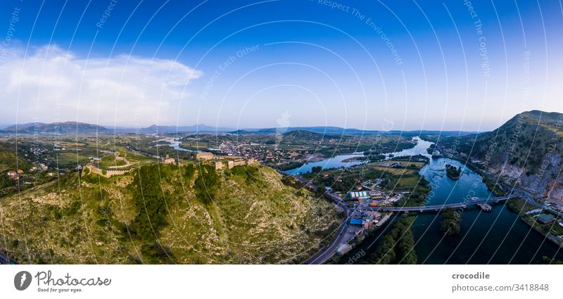 drone recording of the castle of shkodra Albania Rivers Town Wilderness Freedom Vacation & Travel Castle Tourism Tourist Attraction Landmark Exterior shot