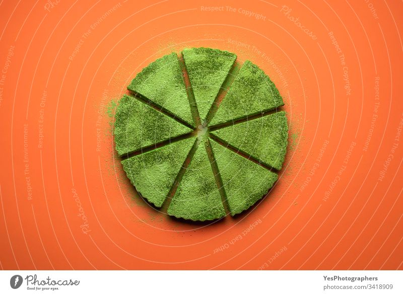 Matcha cheesecake slice tart. Green cake slices equally baked cheesecake tart colorful confectionery creamy delicious dessert flat lay food green