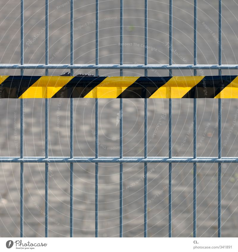 Black Yellow Street Dangerous Threat Safety Construction site Protection Risk Fence Barrier Considerate Bans Close Warn Responsibility