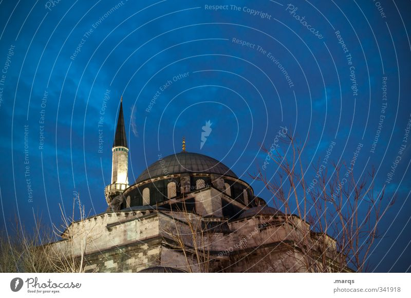 minaret Vacation & Travel Tourism Culture Historic Sky Clouds Night sky Istanbul Turkey Manmade structures Building Architecture Mosque Minaret Sign Illuminate