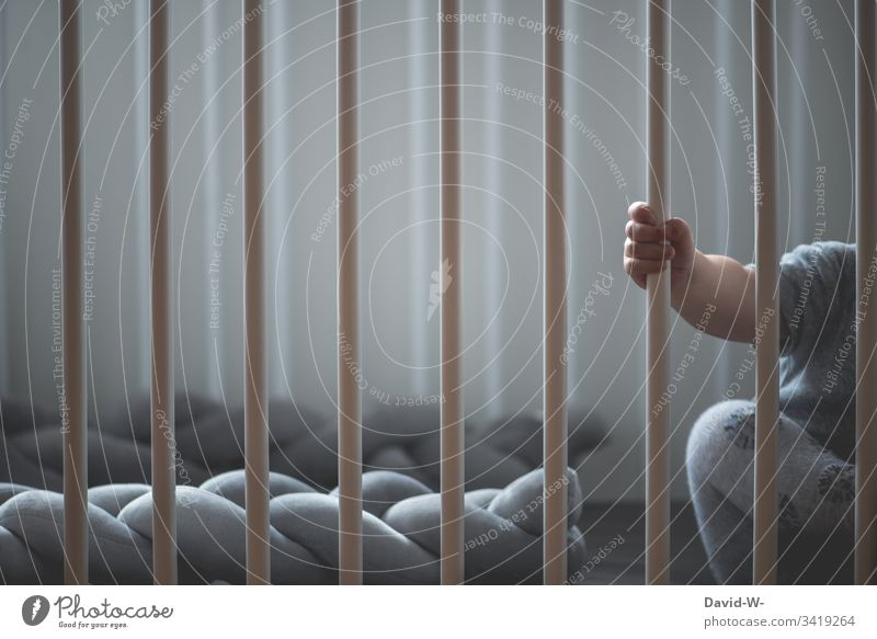 Baby behind bars in a cot Child Hand Small Boy (child) Toddler Sleep Alert Grating penned Cute To hold on Sweet by oneself Lonely Anonymous Grasp upbringing