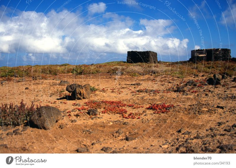 summer cottage Ruin Clouds Drought Fuerteventura Canaries Vacation & Travel stone hut Blue sky Desert