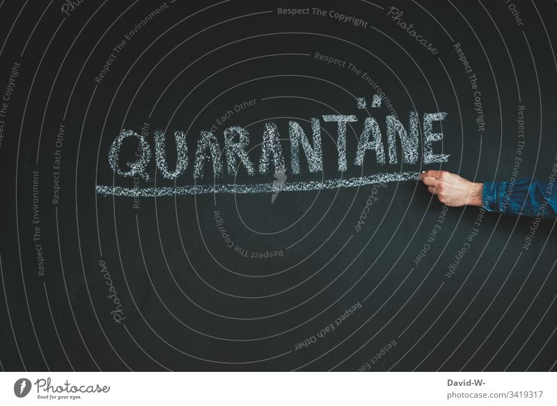 Coronavirus quarantine word underlined coronavirus Quarantine output lock karantäne Precuation point interdiction Hand Virus Word Infection Risk of infection