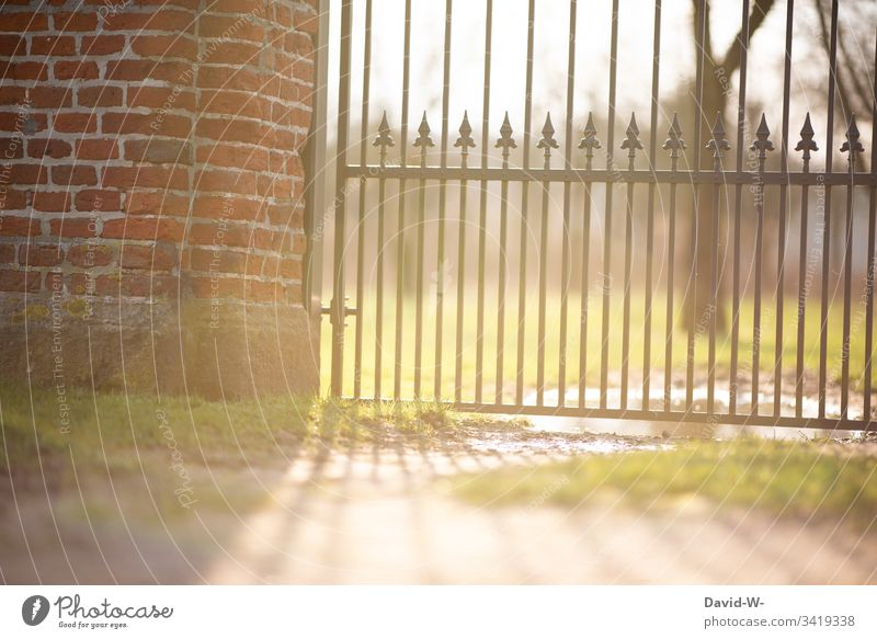 Sunlight shines through the gate in the park Spring Park Goal locked cordoned off out Deserted Beautiful weather Exterior shot Colour photo Light Summer