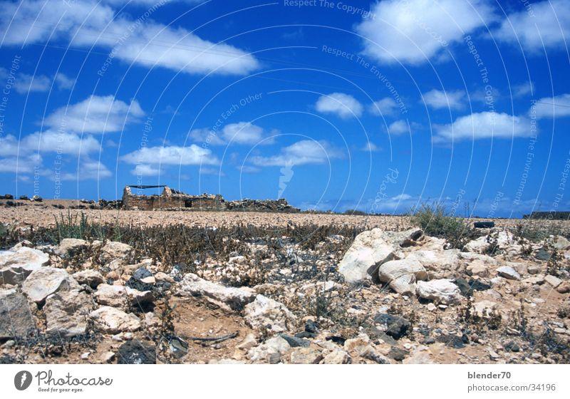 Sky Blue Loneliness Stone Horizon Europe Desert Ruin Drought Badlands Fuerteventura Canaries Gravel