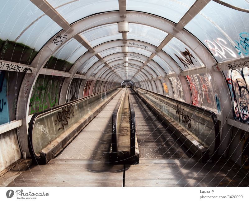Empty subway tunnel hall path entrance office building centre pathway corridor black and white construct background geometric bridge steel concept speed