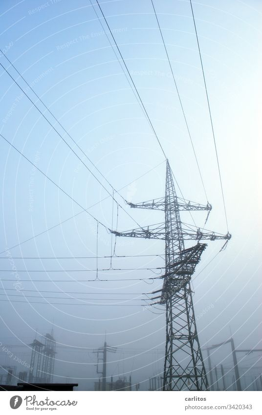 Large mast with lots of wire Pole Electricity pylon Cable Transmission lines Tension high voltage Energy energy revolution alternative energy Energy industry