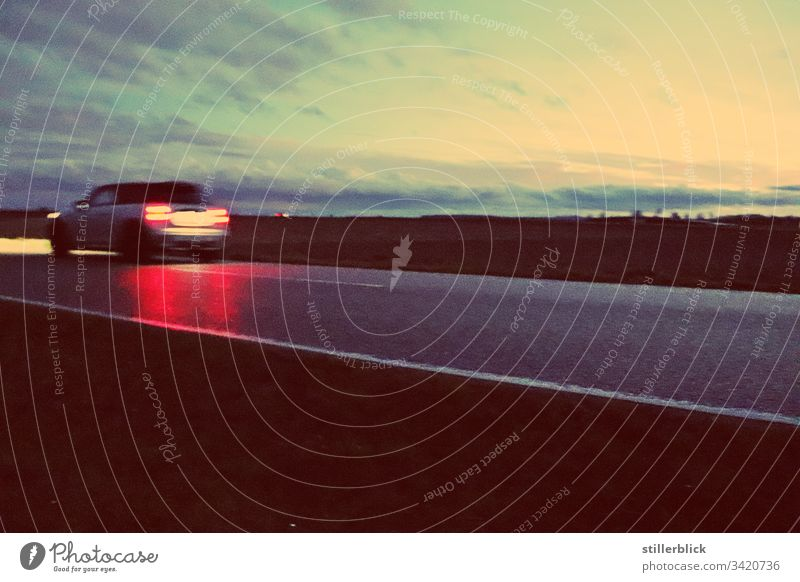 taillights of a car in the evening Evening Street Taillights Horizon Wanderlust voyage Sky