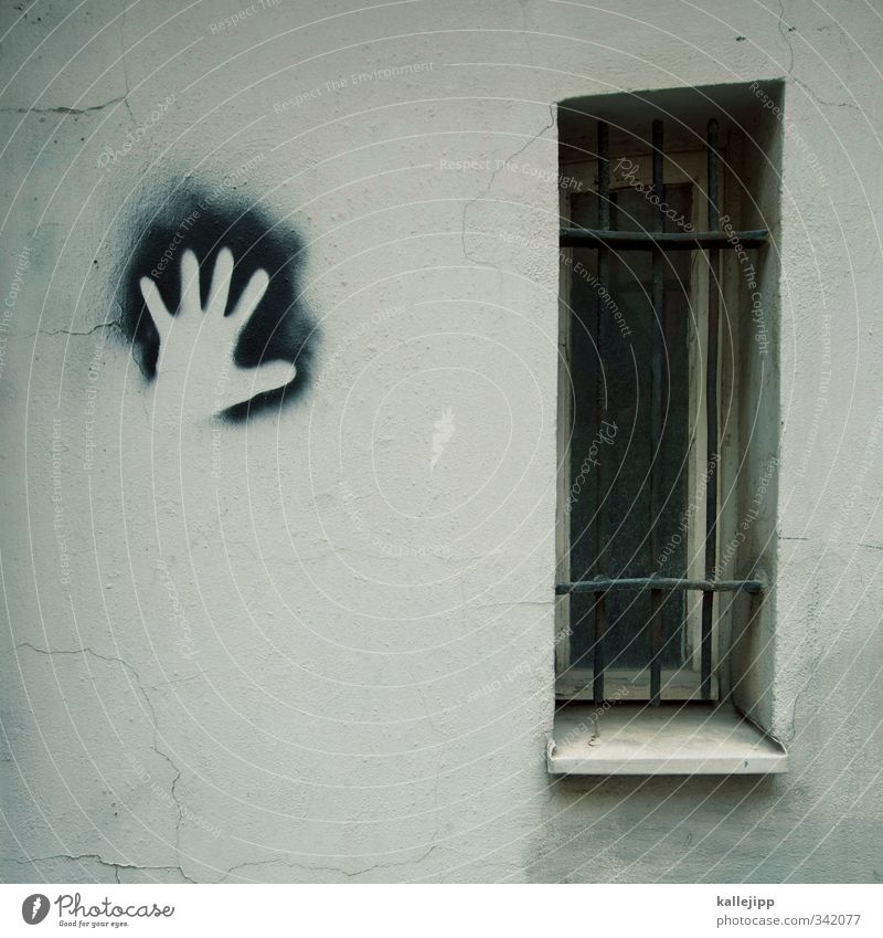 the white hand Hand Facade Window Graffiti Identity handprint Imprint Silhouette Spray Grating Thief Exterior shot