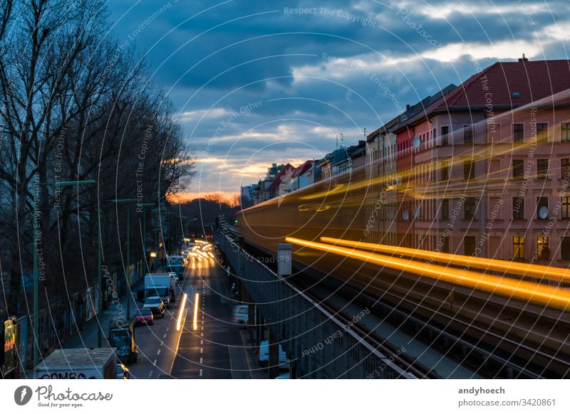 old subway in long time exposure Architecture background Berlin Bridge Building Business capital cars City Clouds colourful Evening Exposure Facade Facades
