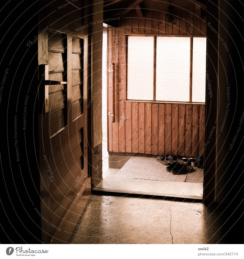 Window Wall (building) Wall (barrier) Wood Stone Door Gloomy Open Footwear Floor covering Plastic Firm Stagnating Door handle Bracket