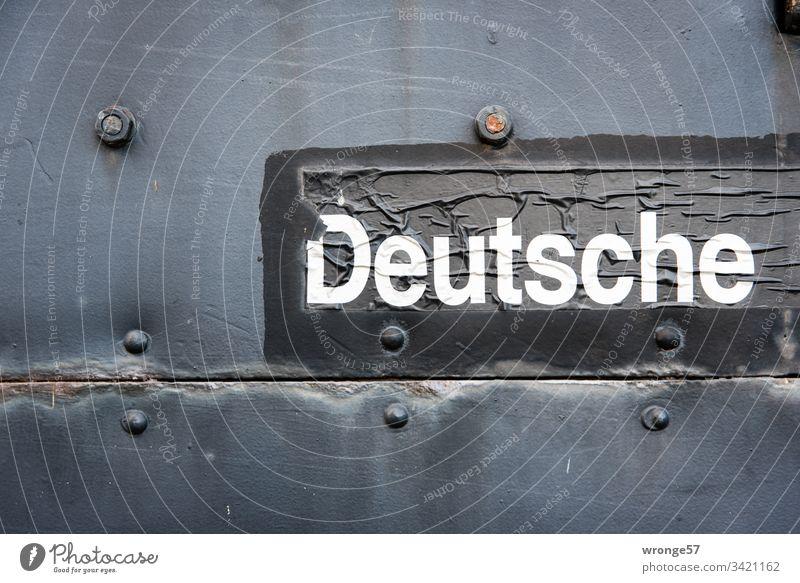 German lettering on a historical railway wagon Characters Word Letters (alphabet) White Black Colour photo Language Germans German Reichsbahn railcar Detail