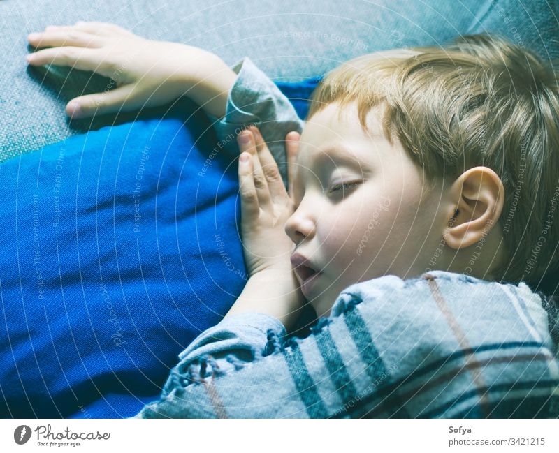 Little blonde boy sleeping under a blanket little child blue bed childhood pillow cute dream kid rest bedtime relax asleep lying face sweet nap peaceful sleepy