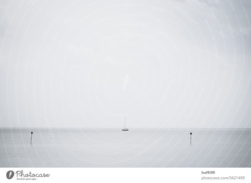 Sailing boat on calm sea Sailboat Aquatics Water Cloudless sky North Sea Sailing ship Morning Orderliness Esthetic Lanes & trails Harbour entrance Yacht harbour