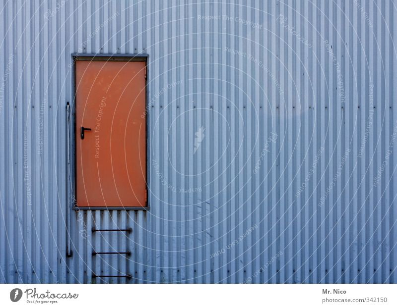 the doors I Industrial plant Factory Manmade structures Building Architecture Wall (barrier) Wall (building) Facade Door Blue Red Exceptional Ladder Entrance