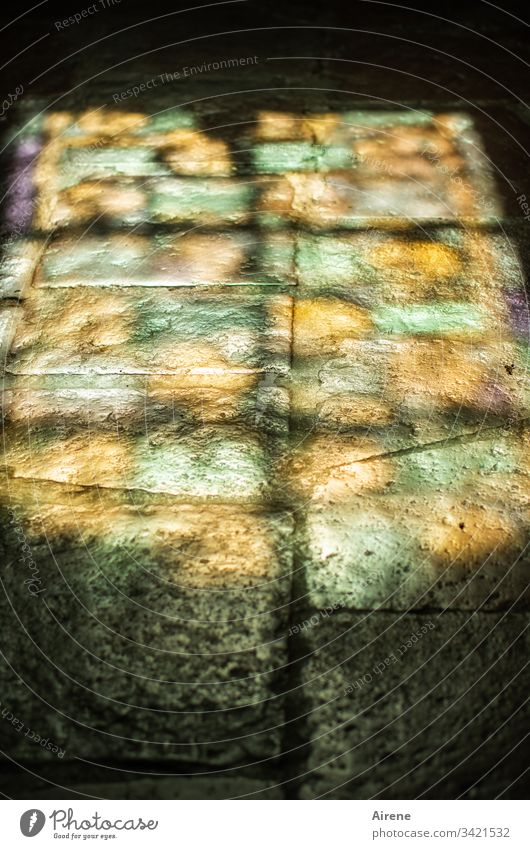 It smells like... | ...incense... Contrast Detail Christianity Sunlight Granite enlightenment Lonely pray silent Meditation Paving stone Ground golden Church