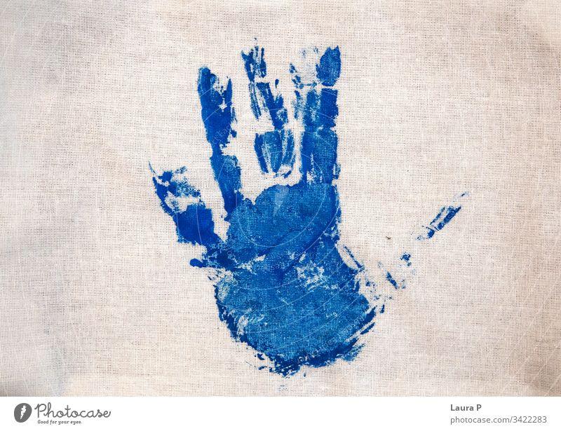 Blue child hand print on fabric Hand handprint Multicoloured Colour photo Birthday Cardboard Baby Self-made Handicraft Decoration Gift Value