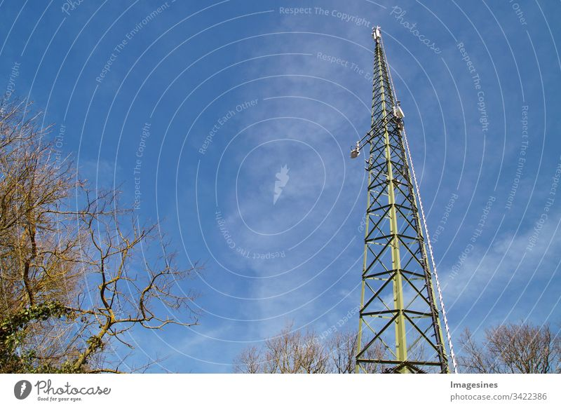 radio antenna in the forest, radio telecommunication mast TV antennas, blue sky, radio antenna Antenna Blue sky Radio Radio antenna Industry Tower Pole Computer