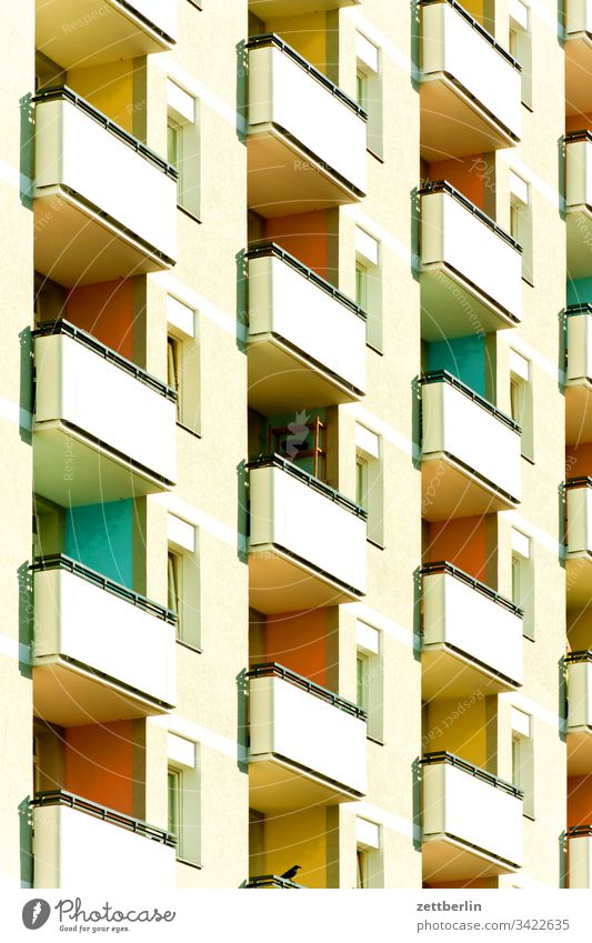 Facade with balconies Architecture on the outside Balcony Berlin city Germany Story Worm's-eye view Capital city House (Residential Structure) Sky High-rise