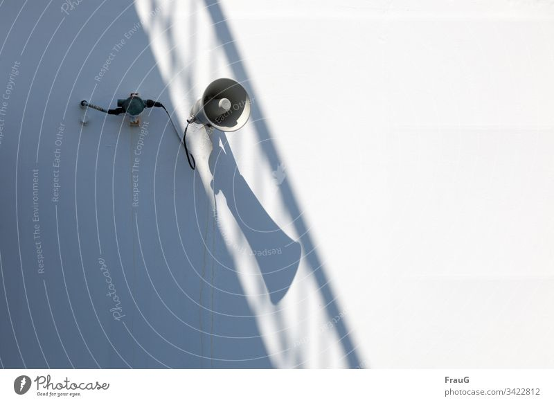 Noise | loudspeaker at the ferry with shadow Loudspeaker Ferry Cable Shadow Handrail seafaring Crossing Vacation & Travel Travel photography Navigation Maritime