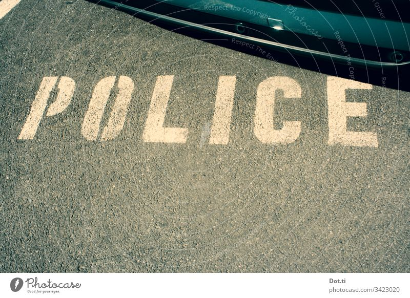 Police parking lot Police Force Asphalt Characters Parking lot car Ground Street Lettering Reserved policy police car street